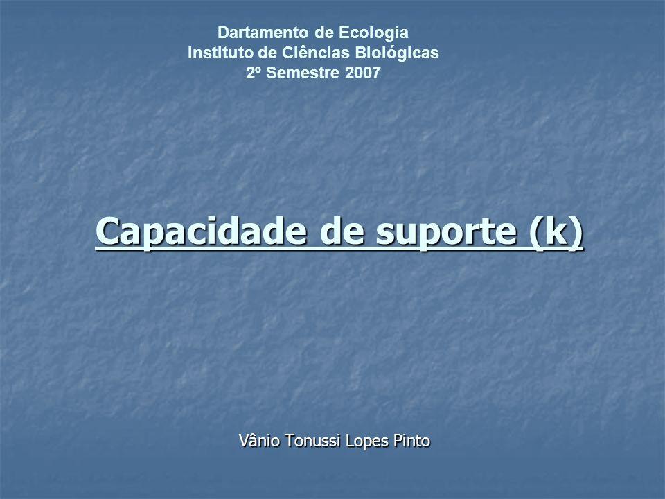 Capacidade de suporte (k) Capacidade de suporte (k) Vânio Tonussi Lopes Pinto Dartamento de Ecologia Instituto de Ciências Biológicas 2º Semestre 2007