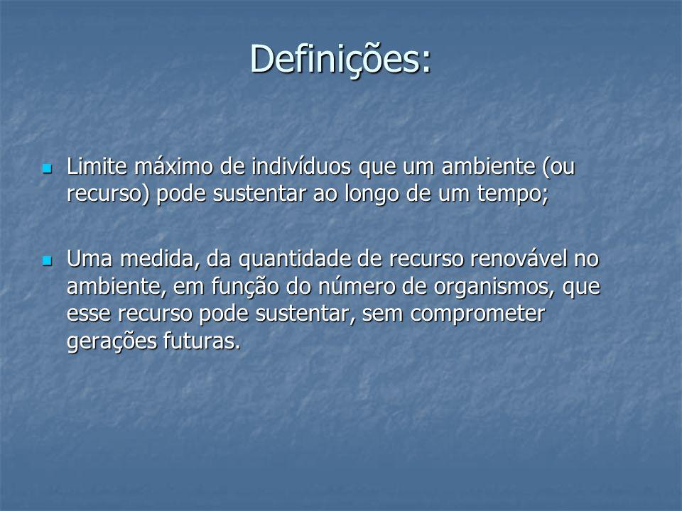 Definições: Limite máximo de indivíduos que um ambiente (ou recurso) pode sustentar ao longo de um tempo; Limite máximo de indivíduos que um ambiente