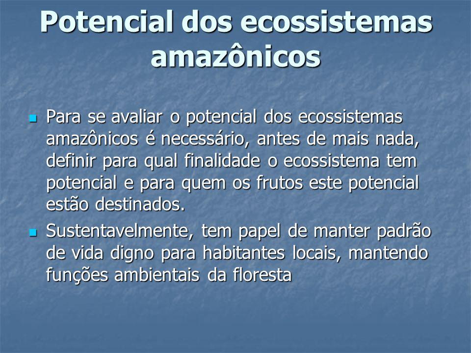 Potencial dos ecossistemas amazônicos Para se avaliar o potencial dos ecossistemas amazônicos é necessário, antes de mais nada, definir para qual fina