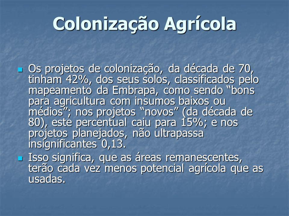 Colonização Agrícola Os projetos de colonização, da década de 70, tinham 42%, dos seus solos, classificados pelo mapeamento da Embrapa, como sendo bon