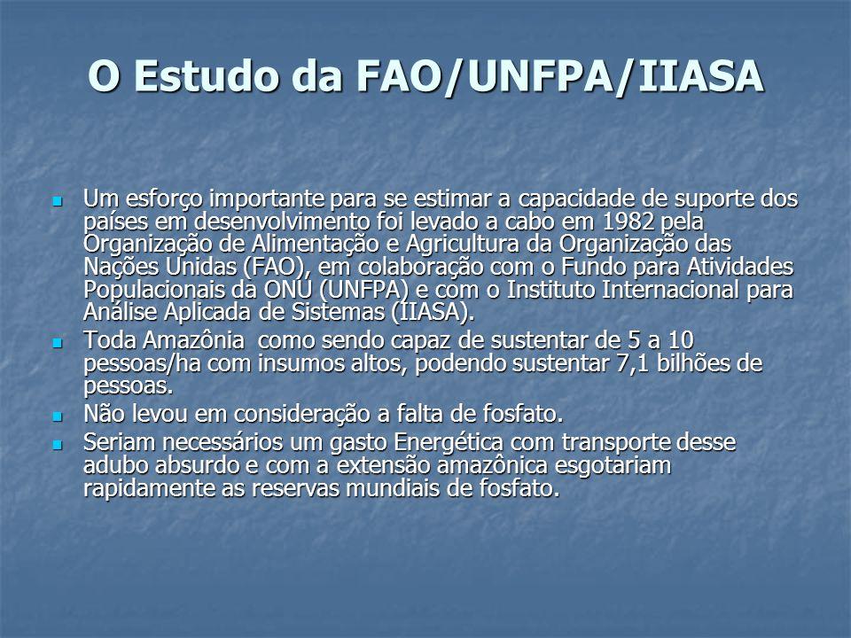 O Estudo da FAO/UNFPA/IIASA Um esforço importante para se estimar a capacidade de suporte dos países em desenvolvimento foi levado a cabo em 1982 pela
