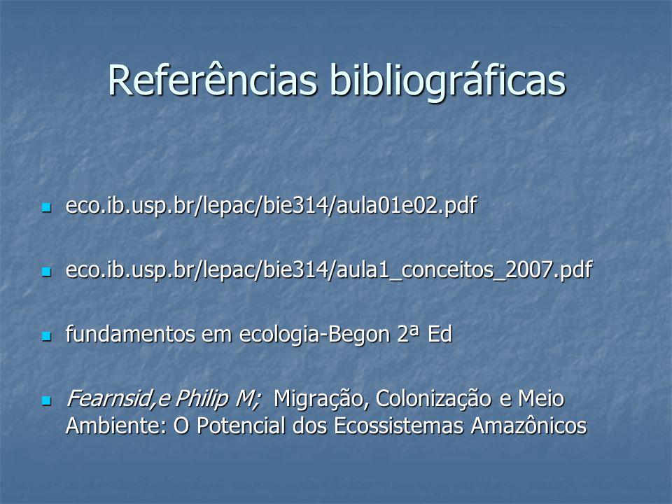 Referências bibliográficas eco.ib.usp.br/lepac/bie314/aula01e02.pdf eco.ib.usp.br/lepac/bie314/aula01e02.pdf eco.ib.usp.br/lepac/bie314/aula1_conceito