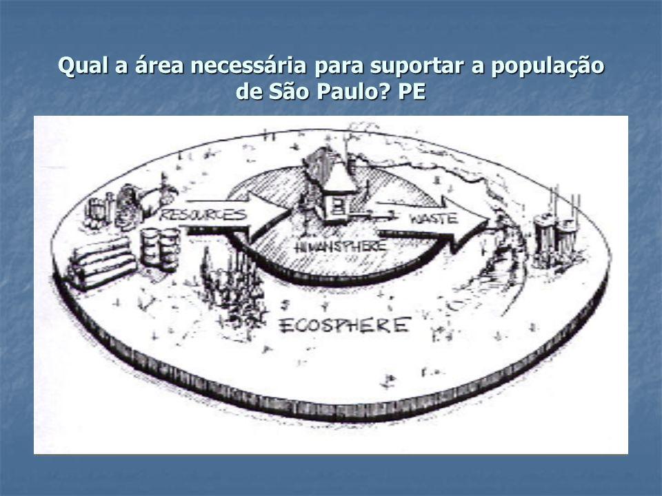 Qual a área necessária para suportar a população de São Paulo? PE