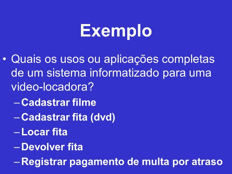 Exemplo Quais os usos ou aplicações completas de um sistema informatizado para uma video-locadora? –Cadastrar filme –Cadastrar fita (dvd) –Locar fita