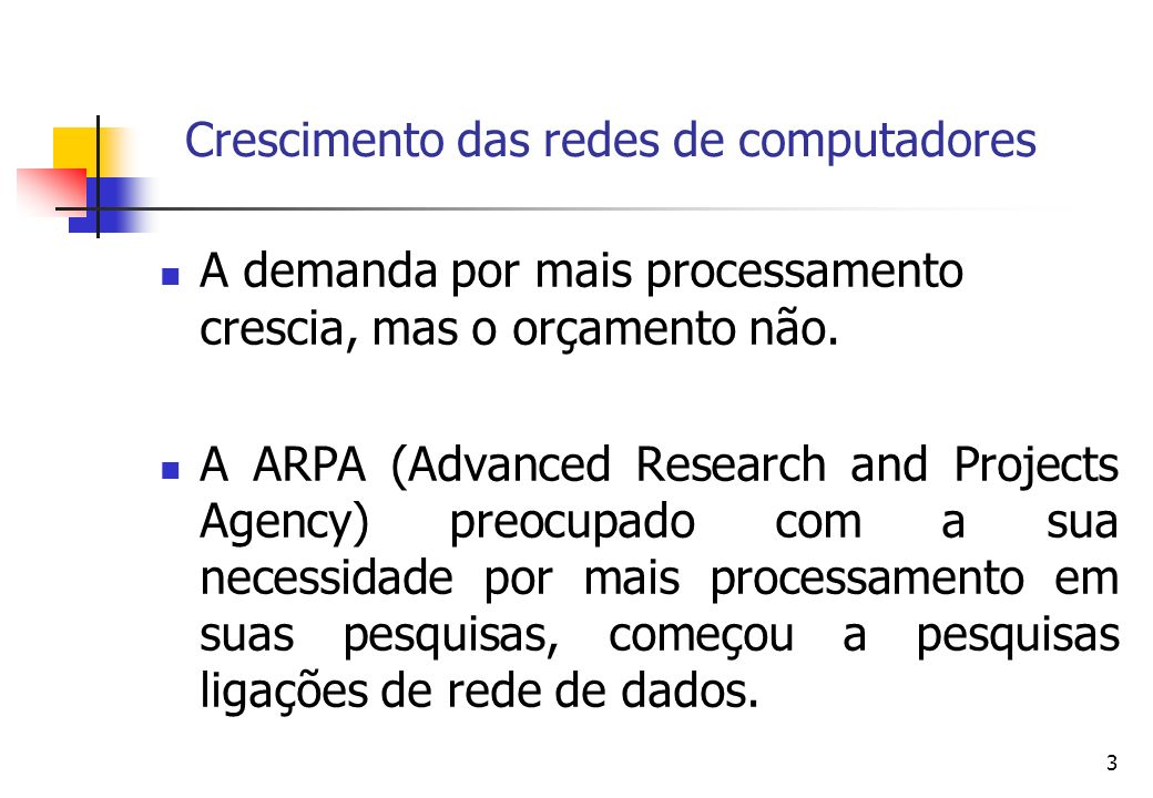 3 A demanda por mais processamento crescia, mas o orçamento não. A ARPA (Advanced Research and Projects Agency) preocupado com a sua necessidade por m