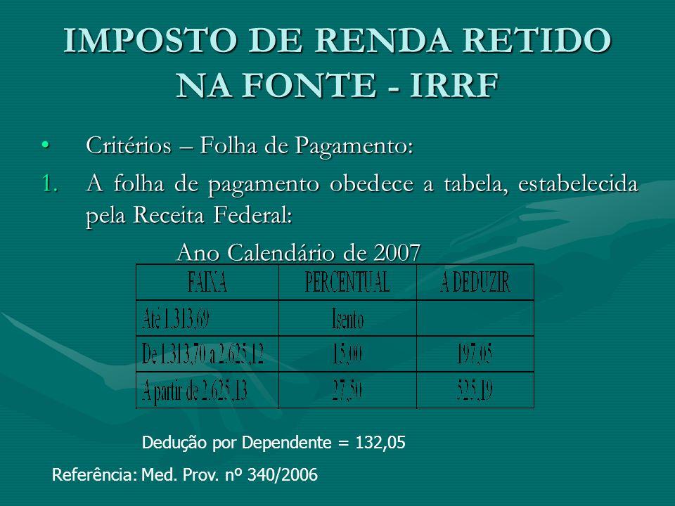 IMPOSTO DE RENDA RETIDO NA FONTE - IRRF Critérios – Folha de Pagamento:Critérios – Folha de Pagamento: 1.A folha de pagamento obedece a tabela, estabe