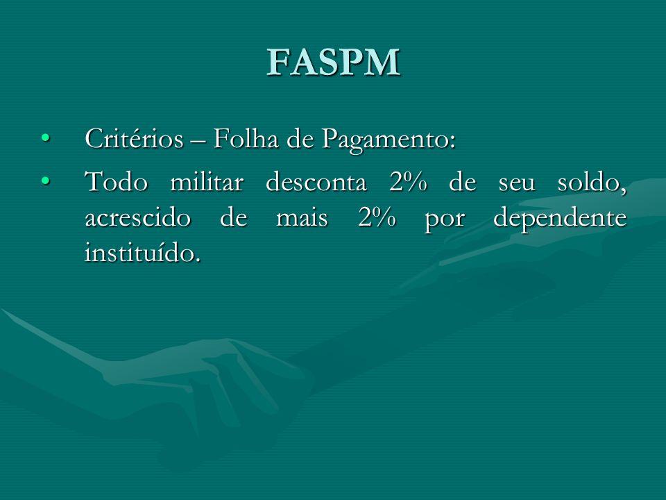 FASPM Critérios – Folha de Pagamento:Critérios – Folha de Pagamento: Todo militar desconta 2% de seu soldo, acrescido de mais 2% por dependente instit