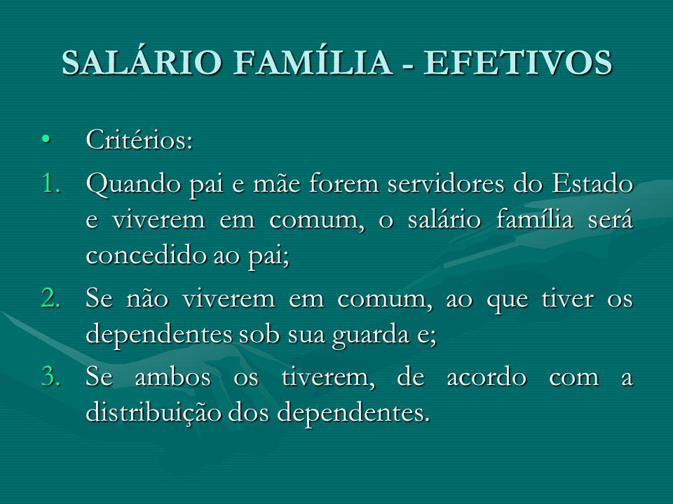 SALÁRIO FAMÍLIA - EFETIVOS Critérios:Critérios: 1.Quando pai e mãe forem servidores do Estado e viverem em comum, o salário família será concedido ao