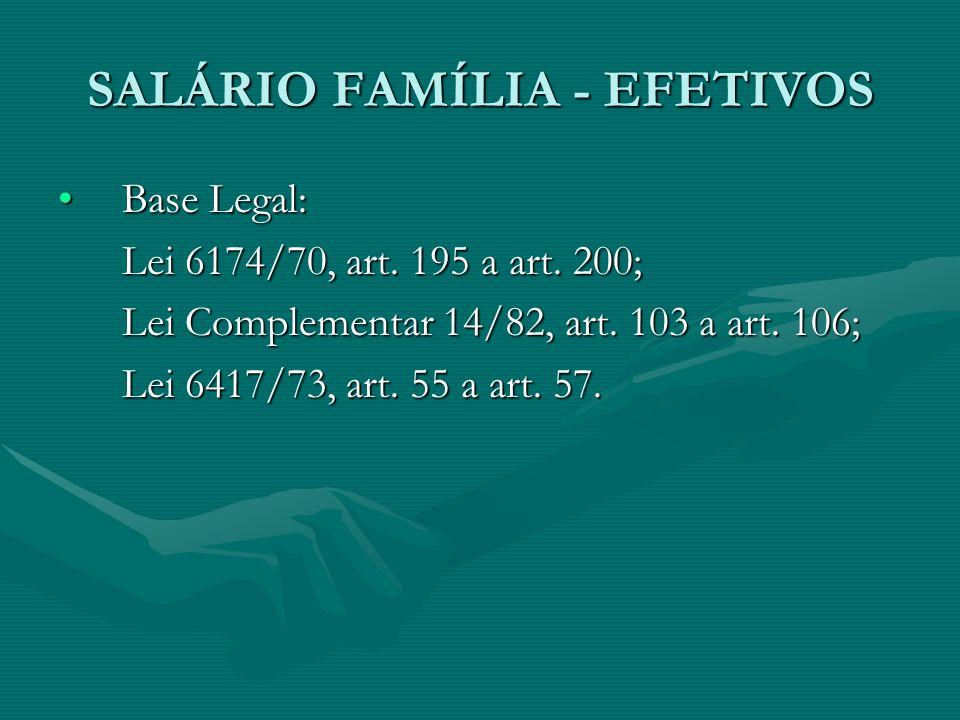 SALÁRIO FAMÍLIA - EFETIVOS Base Legal:Base Legal: Lei 6174/70, art. 195 a art. 200; Lei Complementar 14/82, art. 103 a art. 106; Lei 6417/73, art. 55