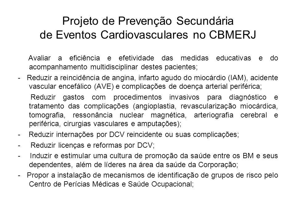 Projeto de Prevenção Secundária de Eventos Cardiovasculares no CBMERJ Avaliar a eficiência e efetividade das medidas educativas e do acompanhamento mu