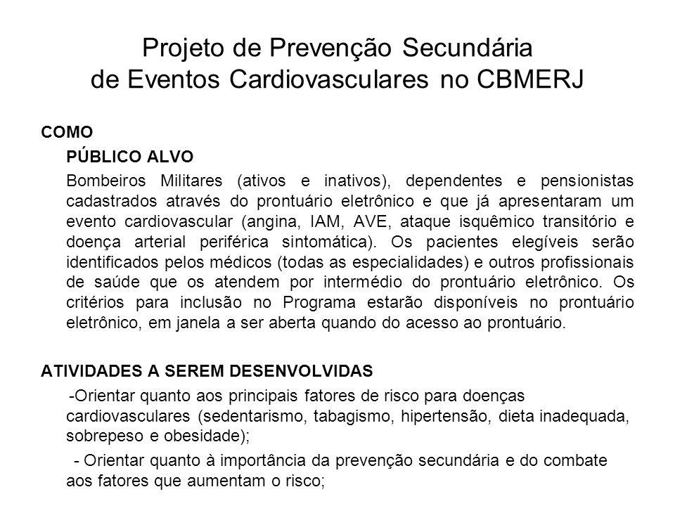 Projeto de Prevenção Secundária de Eventos Cardiovasculares no CBMERJ COMO PÚBLICO ALVO Bombeiros Militares (ativos e inativos), dependentes e pension