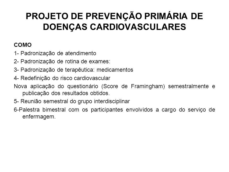 Projeto de Prevenção Secundária de Eventos Cardiovasculares no CBMERJ - Prestar atendimento integrado (abordagem multiprofissional, com apoio nutricional, educação física, orientação anti-tabagismo e fisioterápico), mais perto de sua OBM ou residência, prioritário e facilitado (todas as consultas pré agendadas pelo médico assistente, no mesmo dia) e hierarquizado (mais de um nível de complexidade, com referência e contra-referência), controlado, permanente; - Fornecimento de medicamentos subsidiados (no máximo a preço de custo); -Adequação da oferta nutricional nas OBM.