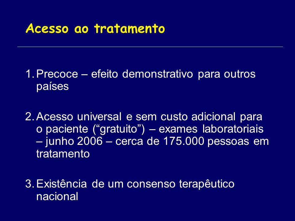 Acesso ao tratamento 1.Precoce – efeito demonstrativo para outros países 2.Acesso universal e sem custo adicional para o paciente (gratuito) – exames laboratoriais – junho 2006 – cerca de 175.000 pessoas em tratamento 3.Existência de um consenso terapêutico nacional