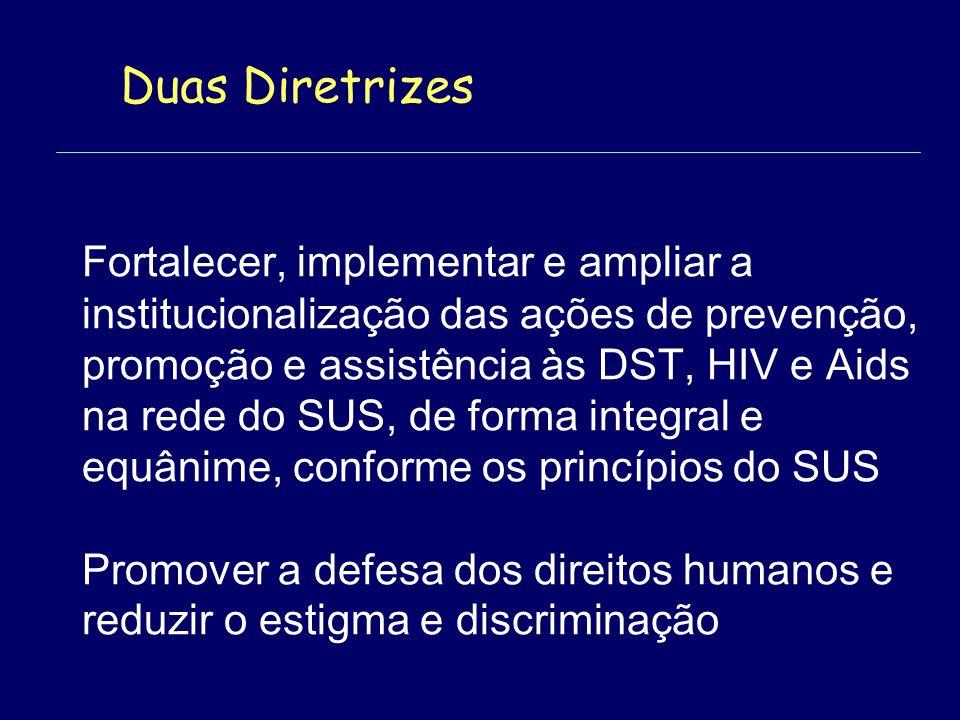 Fortalecer, implementar e ampliar a institucionalização das ações de prevenção, promoção e assistência às DST, HIV e Aids na rede do SUS, de forma integral e equânime, conforme os princípios do SUS Promover a defesa dos direitos humanos e reduzir o estigma e discriminação Duas Diretrizes