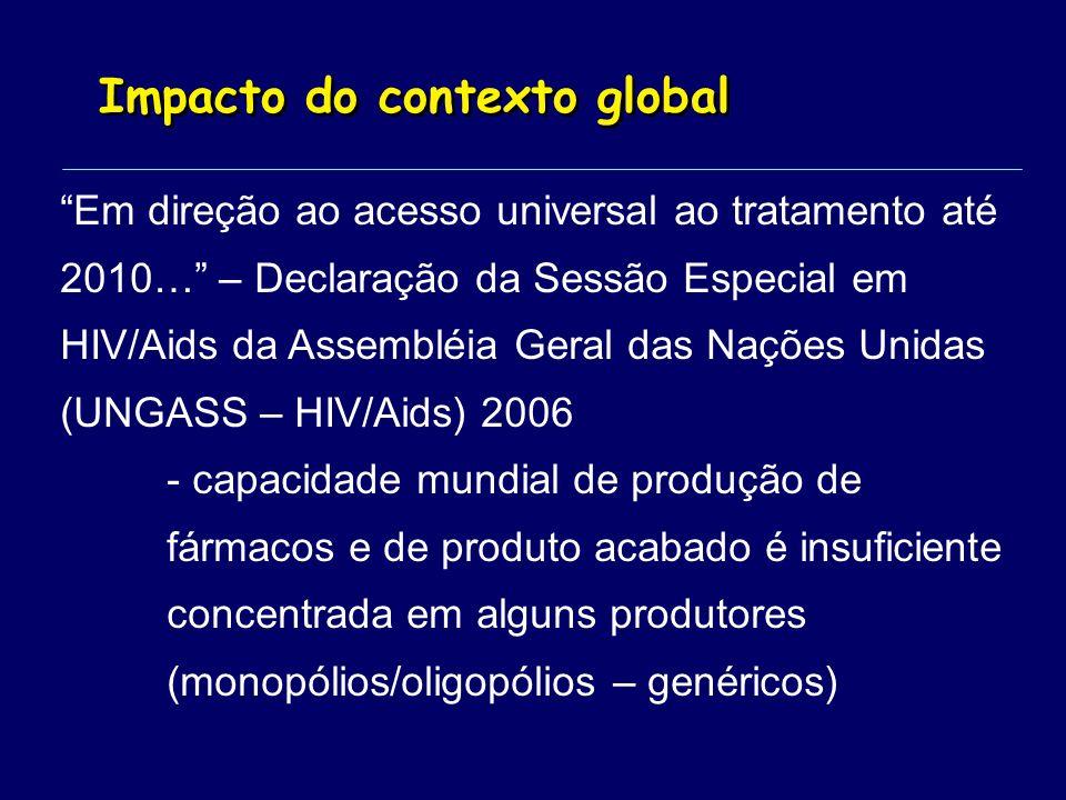 Impacto do contexto global Em direção ao acesso universal ao tratamento até 2010… – Declaração da Sessão Especial em HIV/Aids da Assembléia Geral das Nações Unidas (UNGASS – HIV/Aids) 2006 - capacidade mundial de produção de fármacos e de produto acabado é insuficiente concentrada em alguns produtores (monopólios/oligopólios – genéricos)