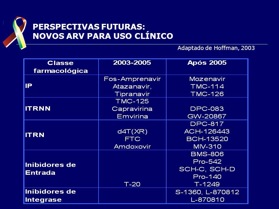 PERSPECTIVAS FUTURAS: NOVOS ARV PARA USO CLÍNICO Adaptado de Hoffman, 2003