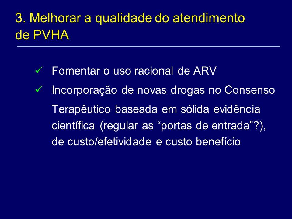 Fomentar o uso racional de ARV Incorporação de novas drogas no Consenso Terapêutico baseada em sólida evidência científica (regular as portas de entrada?), de custo/efetividade e custo benefício 3.