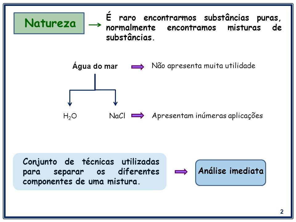 3 Separação dos Componentes das Misturas Heterogêneas Sólido - Sólido Catação: Um dos sólidos é catado com a mão ou com uma pinça.