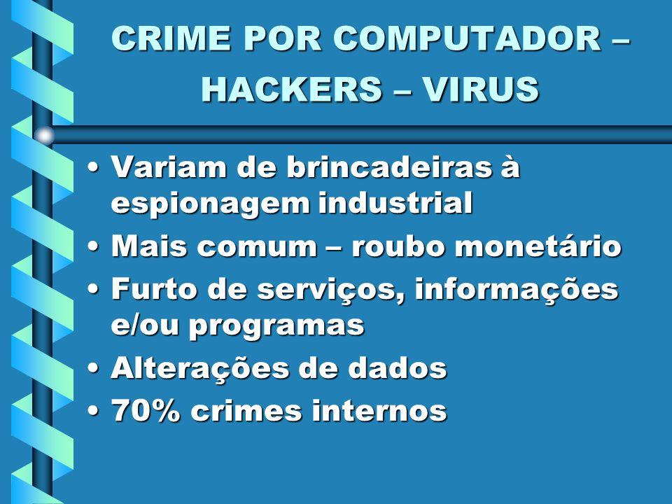 CRIME POR COMPUTADOR – HACKERS – VIRUS Variam de brincadeiras à espionagem industrialVariam de brincadeiras à espionagem industrial Mais comum – roubo