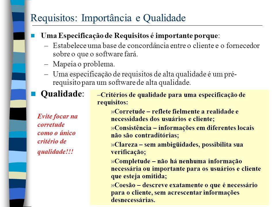 12 Requisitos: Importância e Qualidade Uma Especificação de Requisitos é importante porque: –Estabelece uma base de concordância entre o cliente e o f