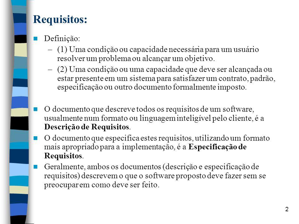 2 Requisitos: Definição: –(1) Uma condição ou capacidade necessária para um usuário resolver um problema ou alcançar um objetivo. –(2) Uma condição ou