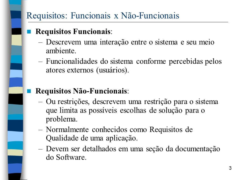 3 Requisitos: Funcionais x Não-Funcionais Requisitos Funcionais: –Descrevem uma interação entre o sistema e seu meio ambiente. –Funcionalidades do sis