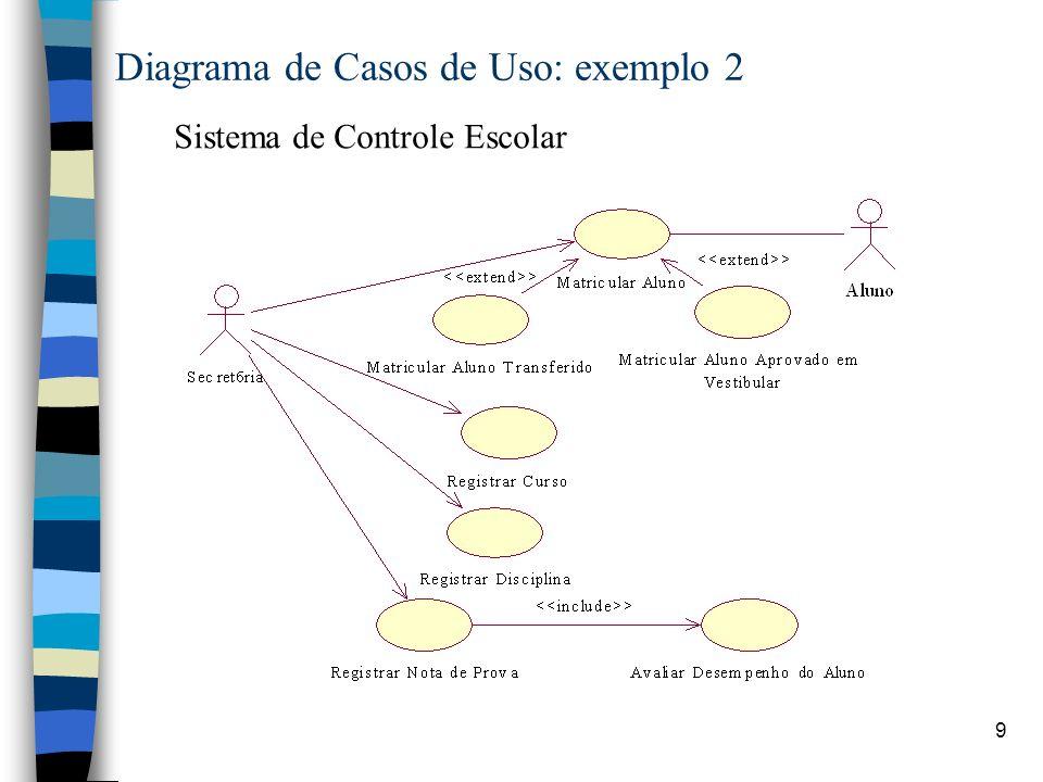 9 Diagrama de Casos de Uso: exemplo 2 Sistema de Controle Escolar