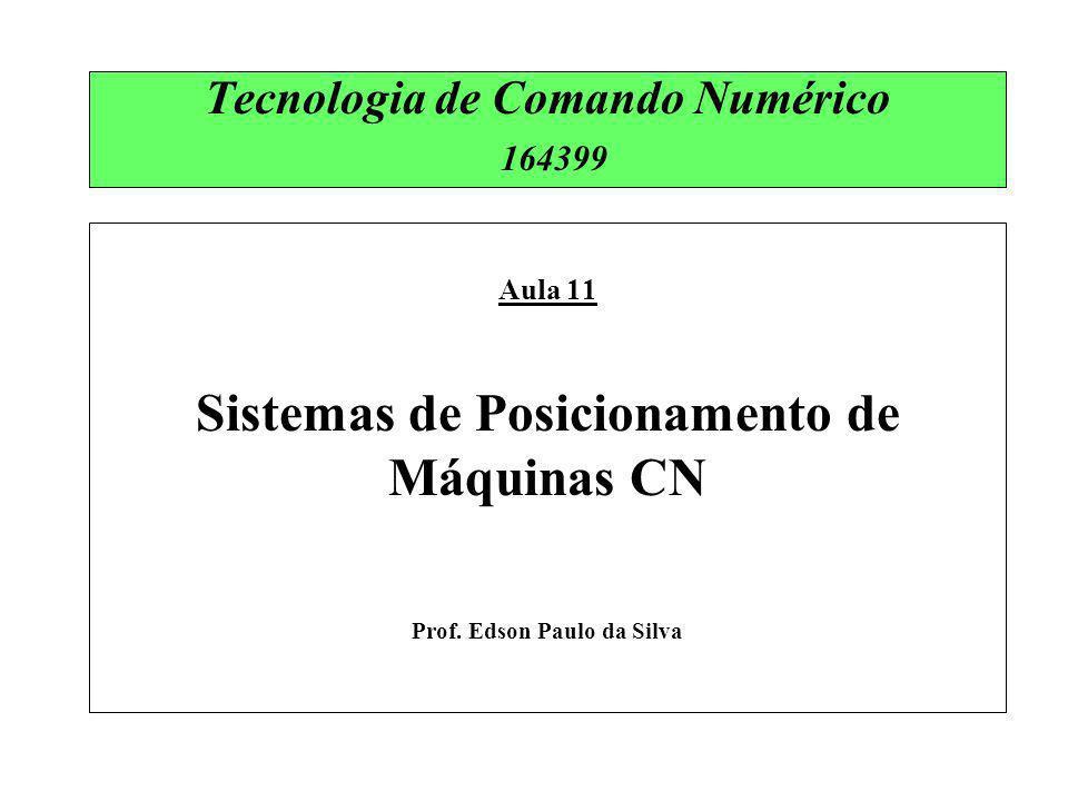 Tecnologia de Comando Numérico 164399 Aula 11 Sistemas de Posicionamento de Máquinas CN Prof. Edson Paulo da Silva