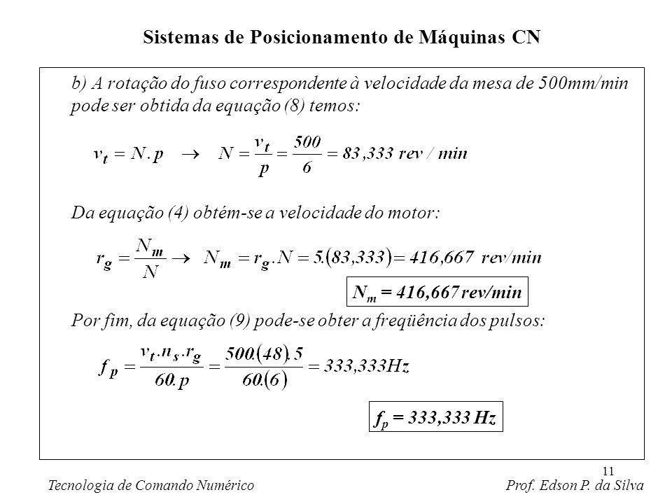 11 b) A rotação do fuso correspondente à velocidade da mesa de 500mm/min pode ser obtida da equação (8) temos: Da equação (4) obtém-se a velocidade do