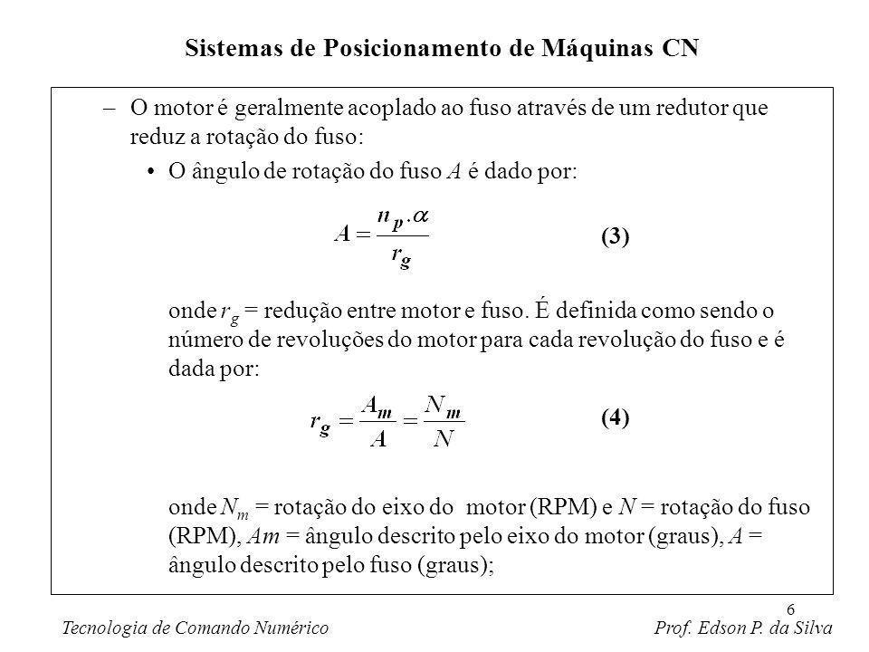 7 –O movimento linear da mesa é dado pelo número de rotações completas e parciais do fuso multiplicado pelo seu passo: onde x = posição relativa à posição inicial (mm,in), p = passo do fuso (mm/rev; in/rev) e A/360 = número de revoluções do fuso; –O número de pulsos necessários para se atingir uma posição x específica (incremental) num sistema ponto-a-ponto pode ser obtida pela combinação das equações (3) e (5); e fazendo uso da (1): Sistemas de Posicionamento de Máquinas CN Tecnologia de Comando Numérico Prof.