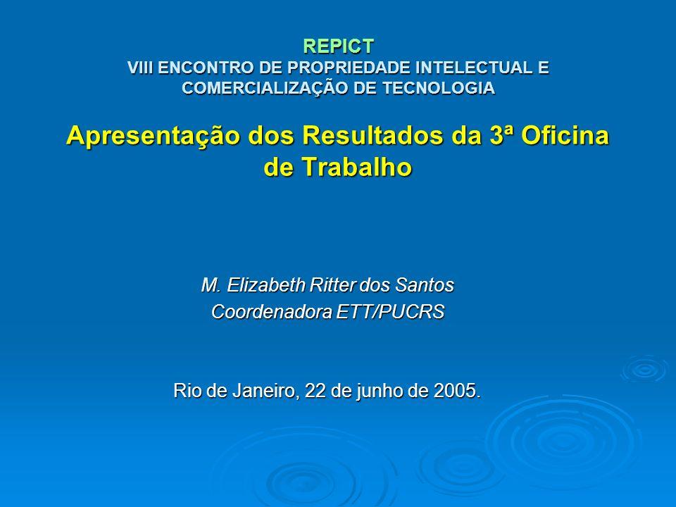 M. Elizabeth Ritter dos Santos Coordenadora ETT/PUCRS Rio de Janeiro, 22 de junho de 2005. REPICT VIII ENCONTRO DE PROPRIEDADE INTELECTUAL E COMERCIAL