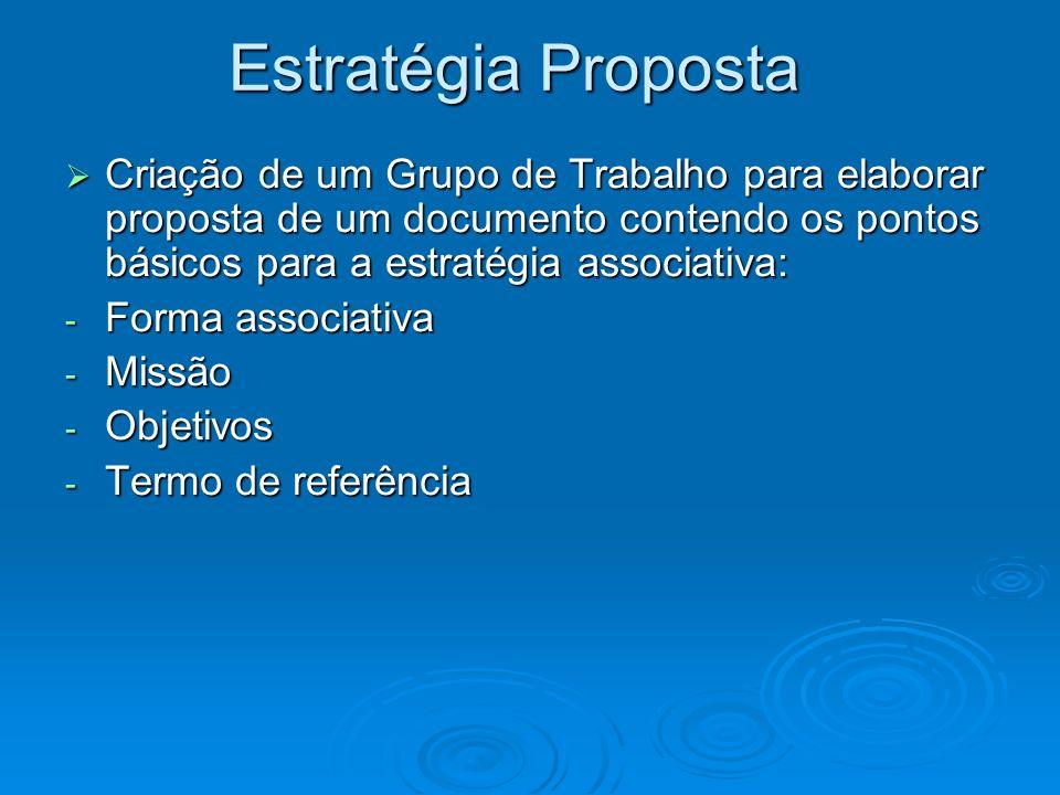Estratégia Proposta Criação de um Grupo de Trabalho para elaborar proposta de um documento contendo os pontos básicos para a estratégia associativa: C