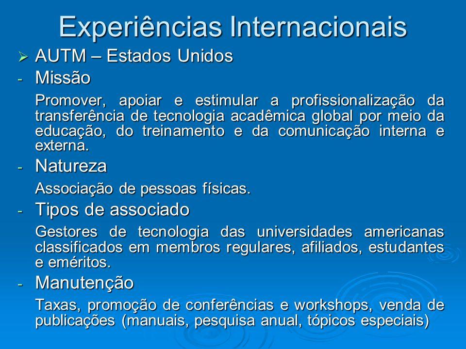 Experiências Internacionais AUTM – Estados Unidos AUTM – Estados Unidos - Missão Promover, apoiar e estimular a profissionalização da transferência de