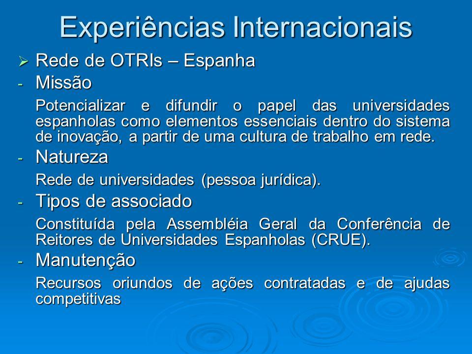 Experiências Internacionais Rede de OTRIs – Espanha Rede de OTRIs – Espanha - Missão Potencializar e difundir o papel das universidades espanholas com