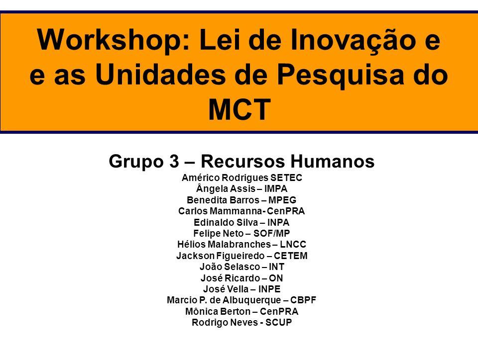 Workshop: Lei de Inovação e e as Unidades de Pesquisa do MCT Grupo 3 – Recursos Humanos Américo Rodrigues SETEC Ângela Assis – IMPA Benedita Barros –