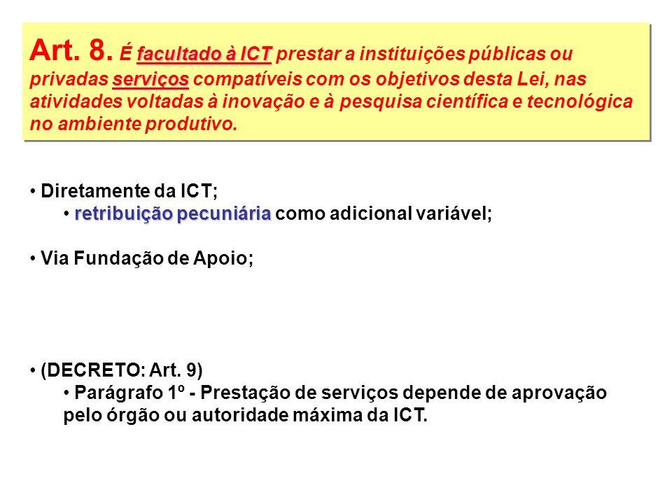 facultado à ICT serviços Art. 8. É facultado à ICT prestar a instituições públicas ou privadas serviços compatíveis com os objetivos desta Lei, nas at
