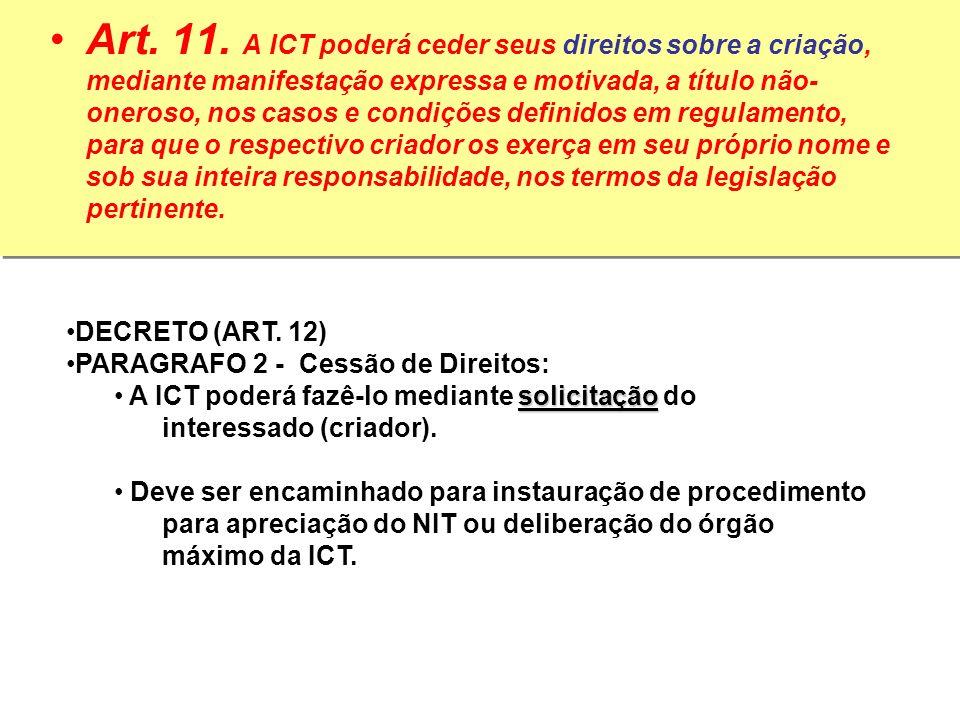 Art. 11. A ICT poderá ceder seus direitos sobre a criação, mediante manifestação expressa e motivada, a título não- oneroso, nos casos e condições def