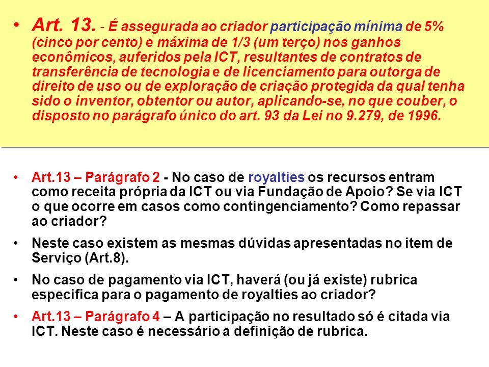 Art. 13. - É assegurada ao criador participação mínima de 5% (cinco por cento) e máxima de 1/3 (um terço) nos ganhos econômicos, auferidos pela ICT, r