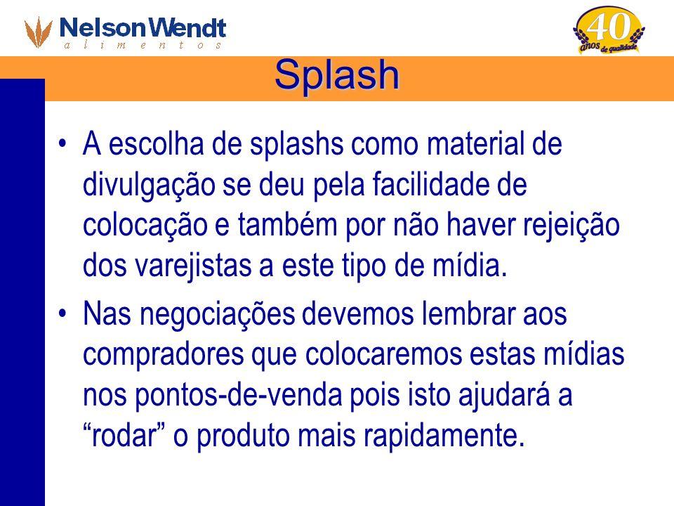 Splash A escolha de splashs como material de divulgação se deu pela facilidade de colocação e também por não haver rejeição dos varejistas a este tipo