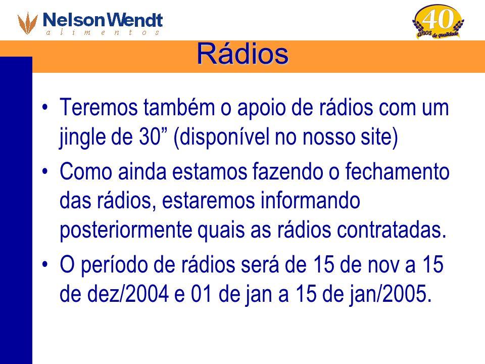 Rádios Teremos também o apoio de rádios com um jingle de 30 (disponível no nosso site) Como ainda estamos fazendo o fechamento das rádios, estaremos i
