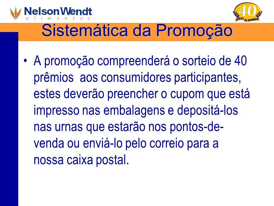 Sistemática da Promoção A promoção compreenderá o sorteio de 40 prêmios aos consumidores participantes, estes deverão preencher o cupom que está impre