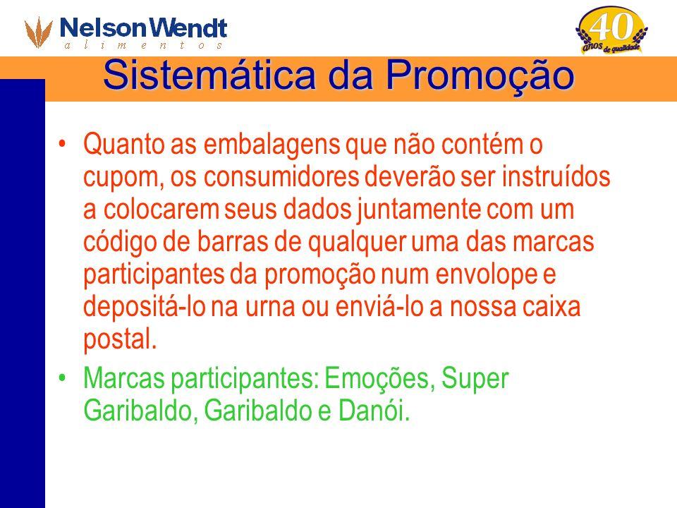 Sistemática da Promoção Quanto as embalagens que não contém o cupom, os consumidores deverão ser instruídos a colocarem seus dados juntamente com um c