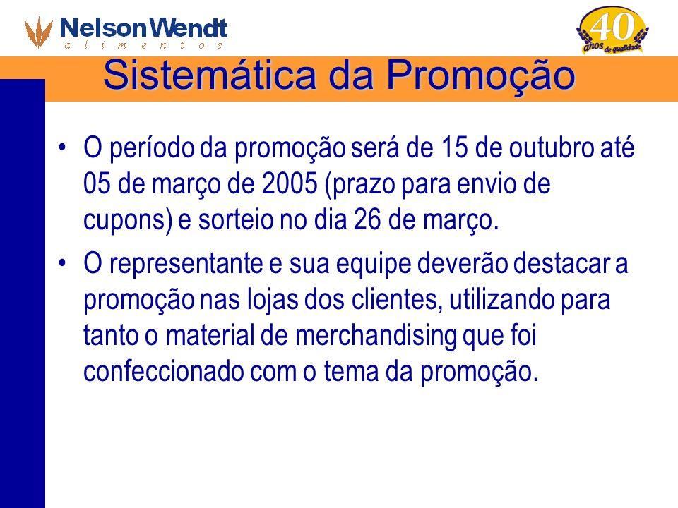 Sistemática da Promoção O período da promoção será de 15 de outubro até 05 de março de 2005 (prazo para envio de cupons) e sorteio no dia 26 de março.