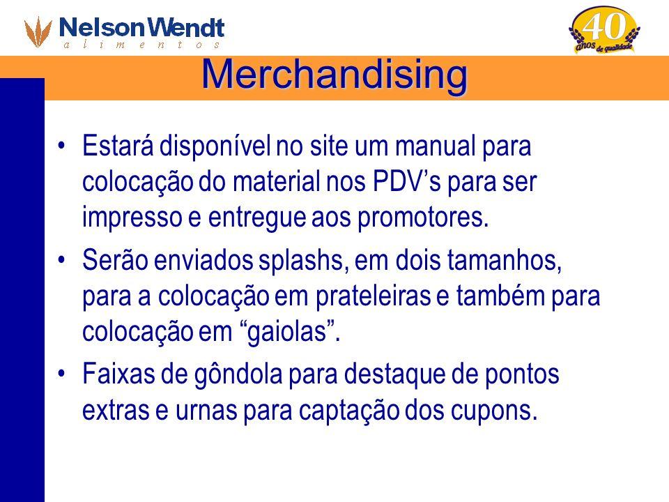 Merchandising Estará disponível no site um manual para colocação do material nos PDVs para ser impresso e entregue aos promotores. Serão enviados spla