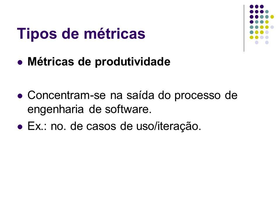 Tipos de métricas Métricas de produtividade Concentram-se na saída do processo de engenharia de software. Ex.: no. de casos de uso/iteração.