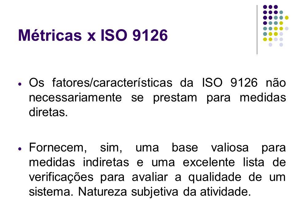 Métricas x ISO 9126 Os fatores/características da ISO 9126 não necessariamente se prestam para medidas diretas. Fornecem, sim, uma base valiosa para m