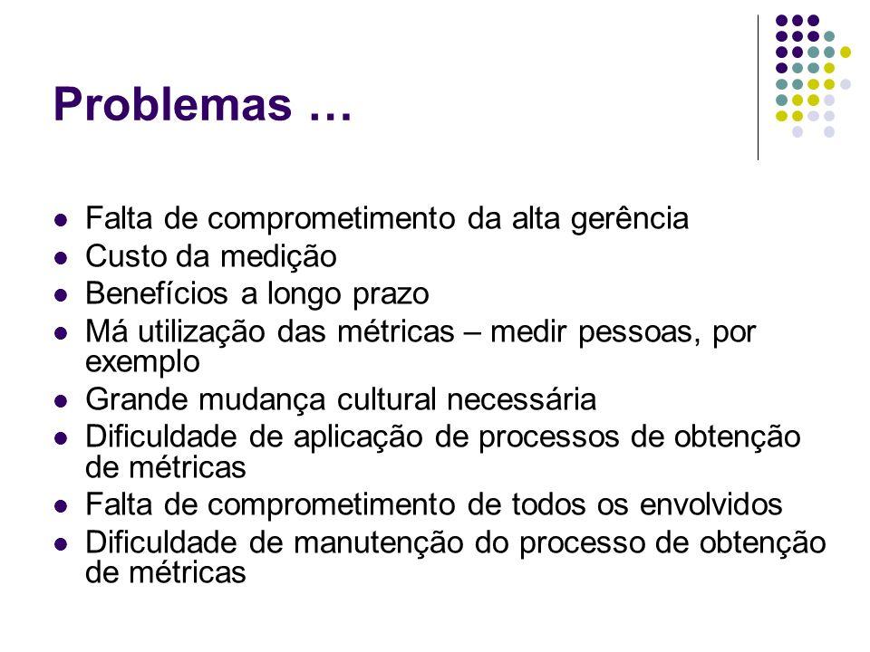 Problemas … Falta de comprometimento da alta gerência Custo da medição Benefícios a longo prazo Má utilização das métricas – medir pessoas, por exempl