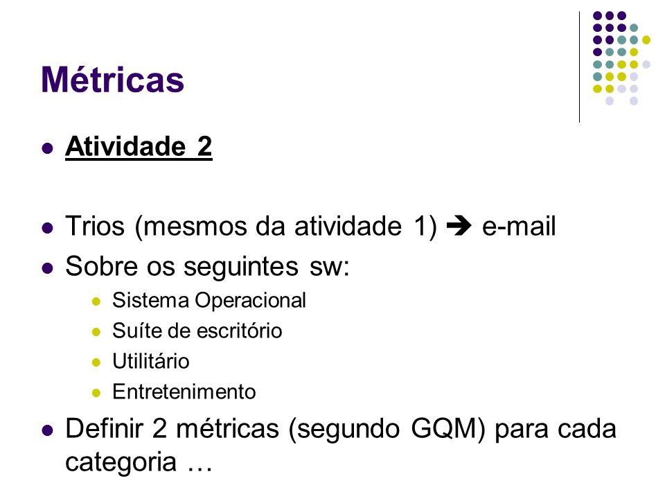 Métricas Atividade 2 Trios (mesmos da atividade 1) e-mail Sobre os seguintes sw: Sistema Operacional Suíte de escritório Utilitário Entretenimento Def
