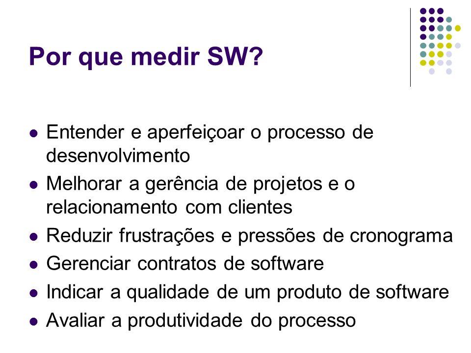 Por que medir SW? Entender e aperfeiçoar o processo de desenvolvimento Melhorar a gerência de projetos e o relacionamento com clientes Reduzir frustra
