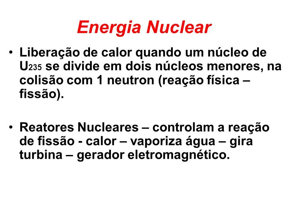 Energia Nuclear Liberação de calor quando um núcleo de U 235 se divide em dois núcleos menores, na colisão com 1 neutron (reação física – fissão). Rea